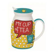 Kubek z łyżeczką i przykrywką My Cup of Tea Nuova R2S Have Fun