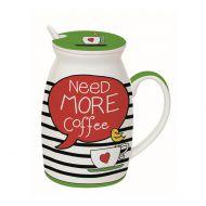 Kubek z łyżeczką i przykrywką Need More Tea Nuova R2S Have Fun