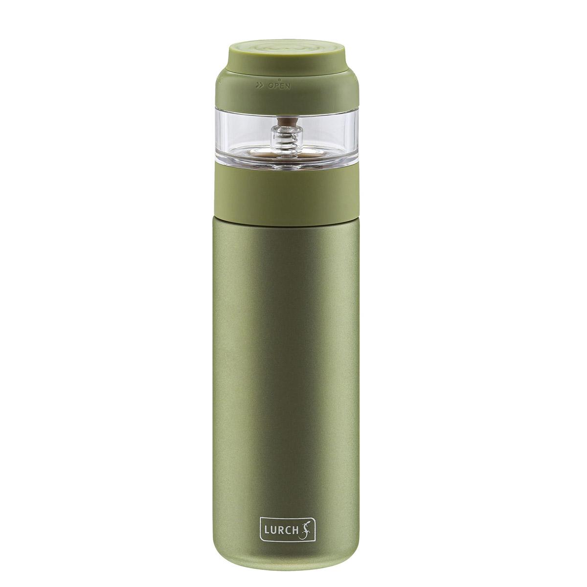 kubek termiczny z zaparzaczem, stalowy, 0,4 l, zielony