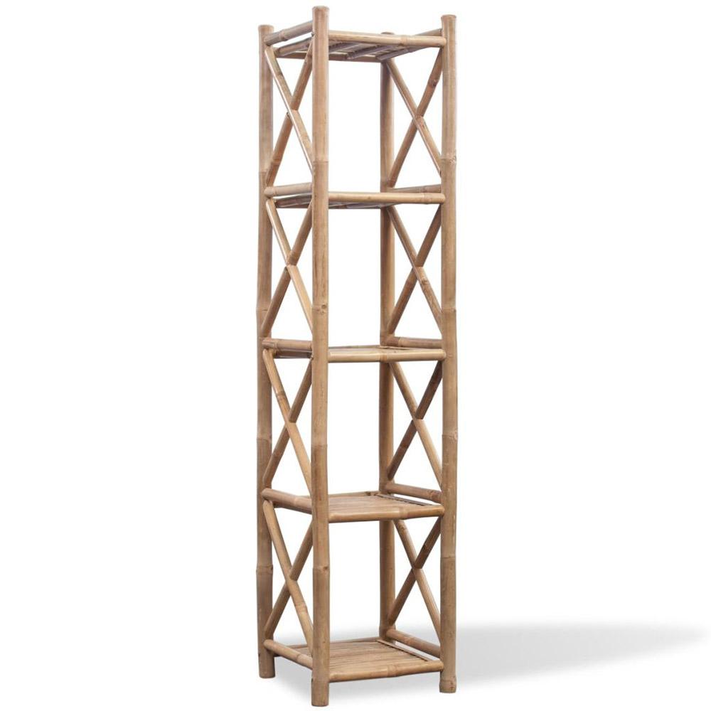 Kwadratowa 5 poziomowa półka bambusowa