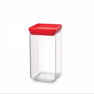 Kwadratowy pojemnik kuchenny 1,6 l pokrywa czerwona - Brabantia