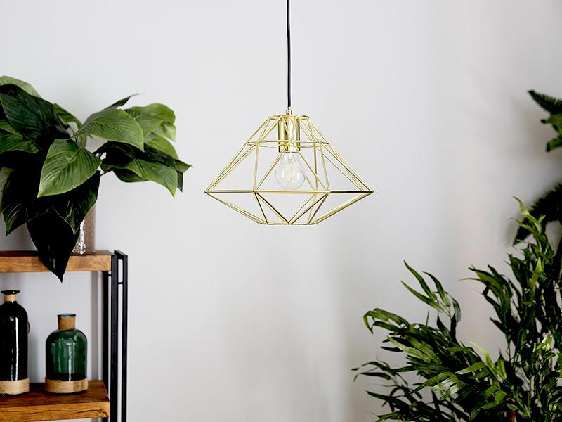 Industrialna lampa wisząca Emanuele w kolorze złotym