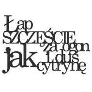 Napis na ścianę ŁAP SZCZĘŚCIE ZA OGON I DUŚ JAK CYTRYNĘ DekoSign czarny