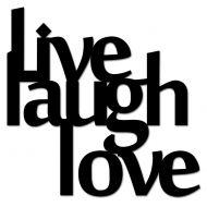 Napis 3D na ścianę DekoSign LIVE LAUGH LOVE czarny