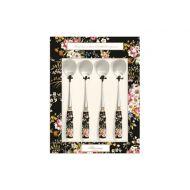Zestaw łyżeczek z porcelanowym uchwytem 4szt Nuova R2S Blooming Opulence czarny