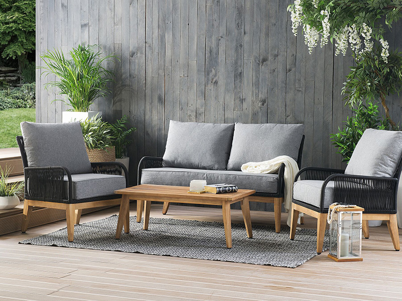 drewniane meble do ogrodu - komplet 4 elementy