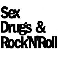 Napis 3D na ścianę DekoSign SEX DRUGS & ROCK'N'ROLL czarny
