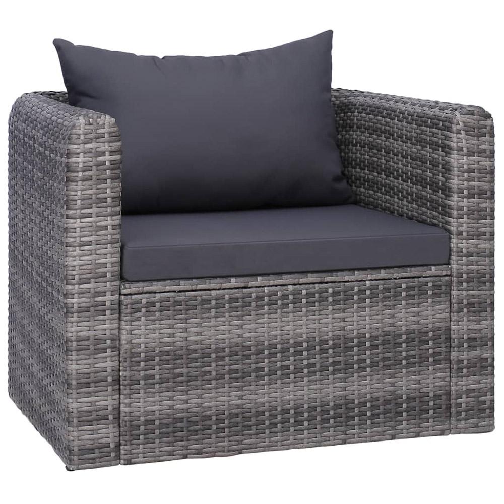 Ogrodowe krzesło z poduszką, rattan PE, szare