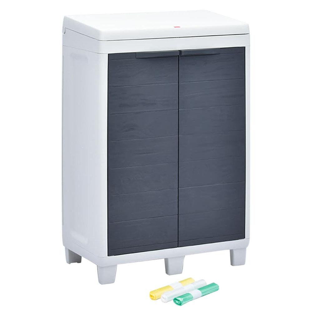 Ogrodowy pojemnik do segregacji odpadów + 3 worki, 65x38x102 cm
