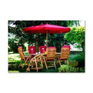 Parasol ogrodowy drewniany śr. 300cm Bazkar FI Czerwony
