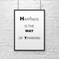 Plakat dekoracyjny 50x70 cm HAPPINESS IS THE WAY OF THINKING DekoSign biały