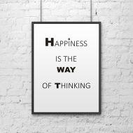 Plakat dekoracyjny 50x70 cm HAPPINESS IS THE WAY OF THINKING DekoSign biały