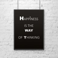 Plakat dekoracyjny 50x70 cm HAPPINESS IS THE WAY OF THINKING DekoSign czarny