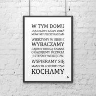 Plakat dekoracyjny 50x70 cm W TYM DOMU... DekoSign biały