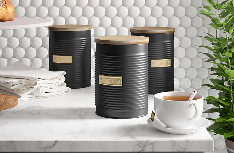 pojemniki na kawę, herbatę i cukier Typhoon metalowe