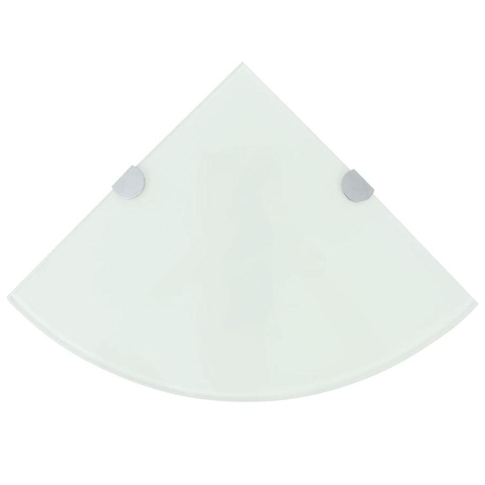 Półka narożna z chromowanymi wspornikami, biała, 35x35 cm