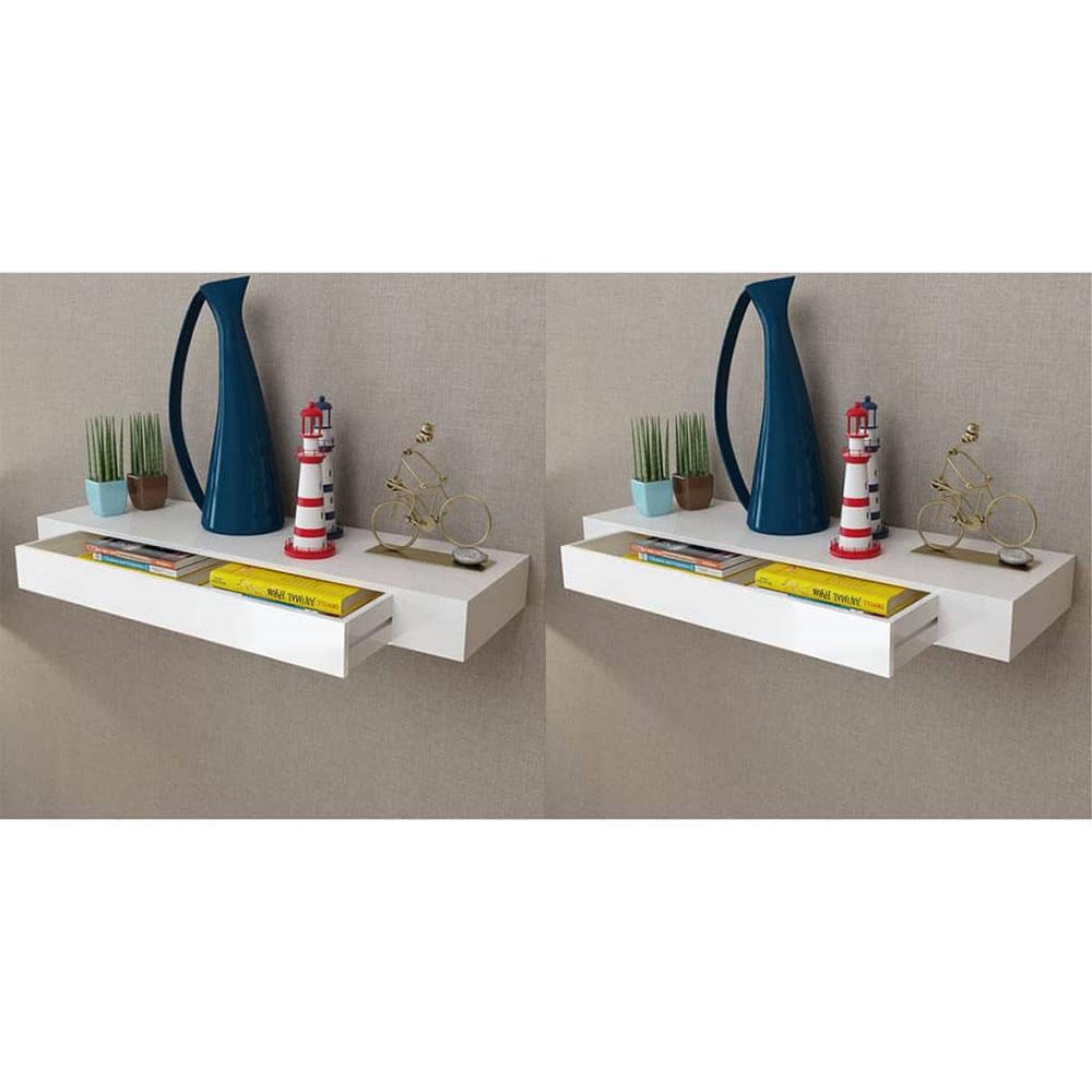 Półki wiszące z szufladami, 2 szt., białe, 80 cm
