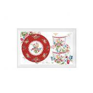Porcelanowe filiżanki 2 szt. Nuova R2S Jardin Secret czerwony kwiaty