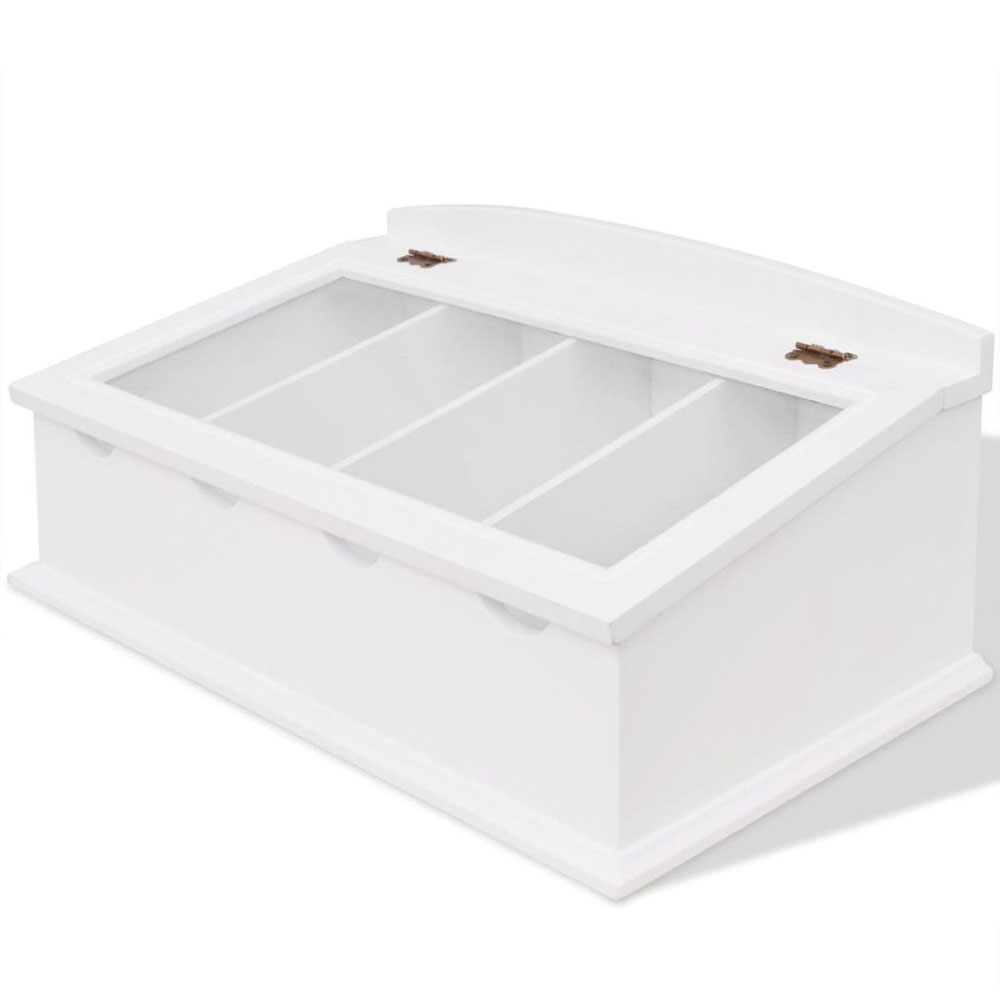 Pudełko na sztućce w stylu barokowym biały z MDF