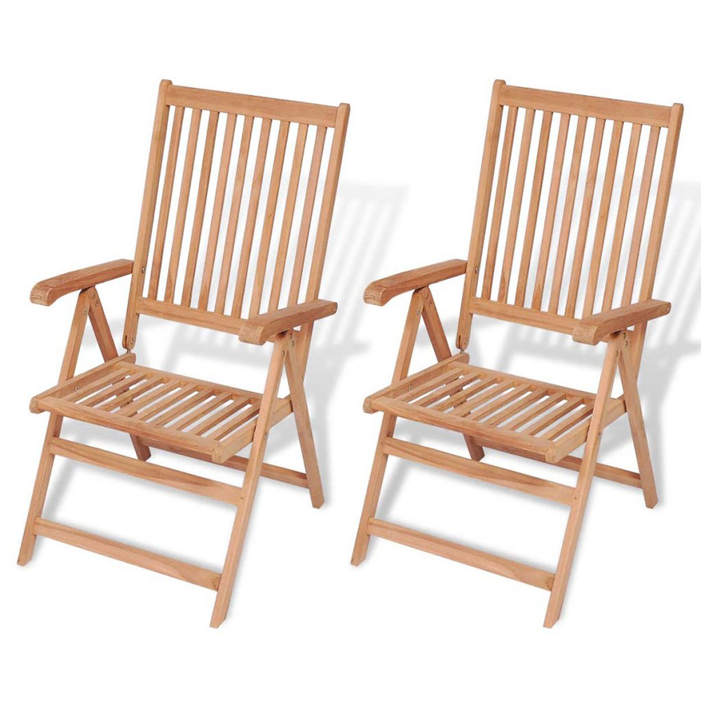 Rozkładane krzesła ogrodowe, 2 szt., lite drewno teakowe