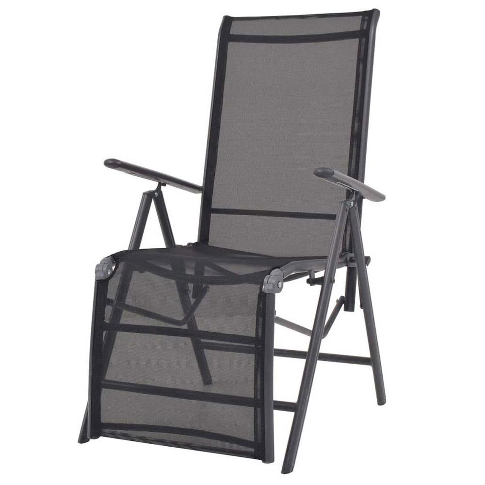 Rozkładane krzesło tarasowe, aluminium i textilene, czarne