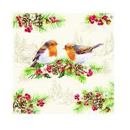 Serwetki 20 szt. 3 warstw. Nuova R2S Napkins świąteczna ptaszki