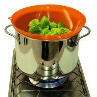 Silikonowe sitko do gotowania na parze Steamy Pavoni pomarańczowy