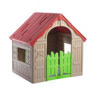 Składany domek dla dzieci Foldable Keter beżowy-jasnozielony