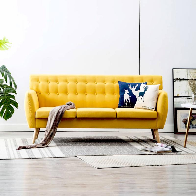 wygodna, 3 osobowa sofa do salonu w kolorze żółtym