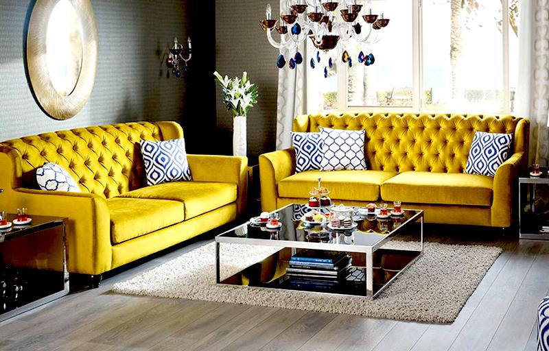 ładne, musztardowe sofy do salonu - eleganckie i nowoczesne