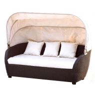 Sofa z technorattanu z baldachimem i poduszkami AKbud wenge-beż