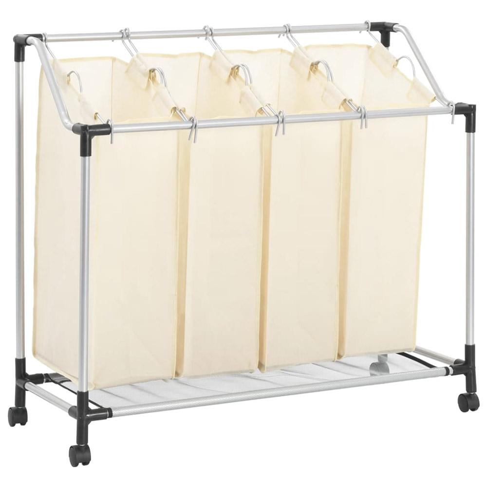 Sortownik na pranie z 4 pojemnikami, kremowy, stalowy