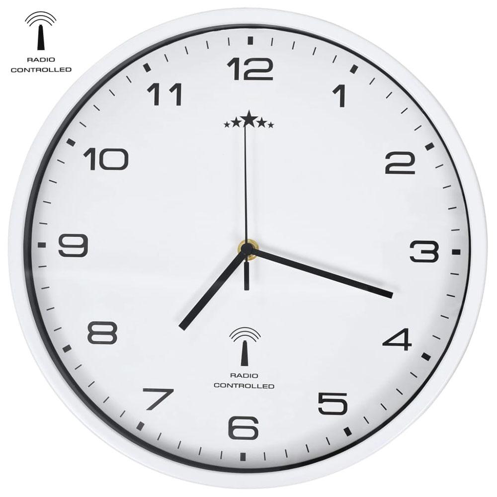 Sterowany radiowo zegar z mechanizmem kwarcowym, 31 cm, biały