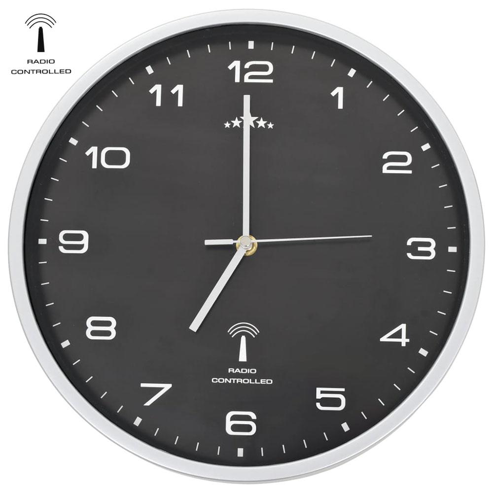 Sterowany radiowo zegar z mechanizmem kwarcowym, 31 cm, czarny