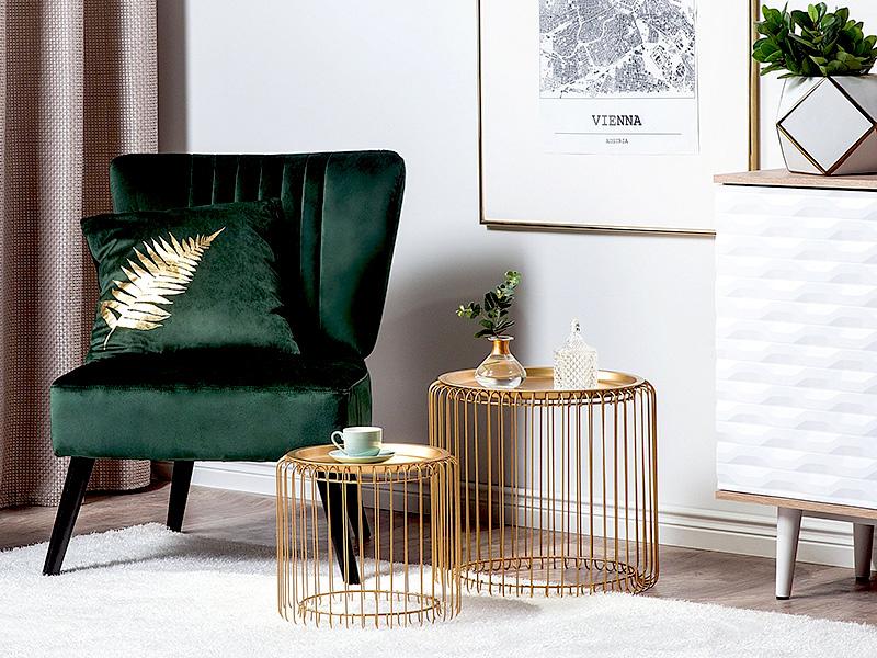 Nowoczesne stoliki kawowe do salonu Berino w złotym kolorze