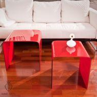 Stolik szklany King Bath Priam Duo czerwony