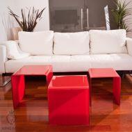 Stolik szklany King Bath Priam Trio czerwony