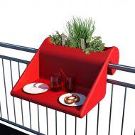 Stolik z pojemnikiem na balkon Balkonzept Rephorm czerwony