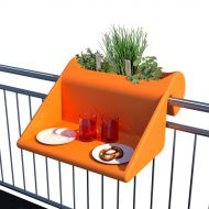 Stolik z pojemnikiem na balkon Balkonzept Rephorm mango
