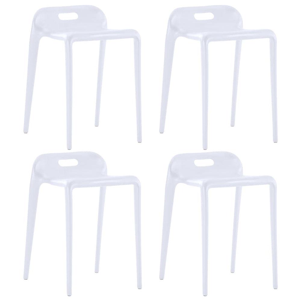 Stołki sztaplowane, 4 szt., białe, plastikowe