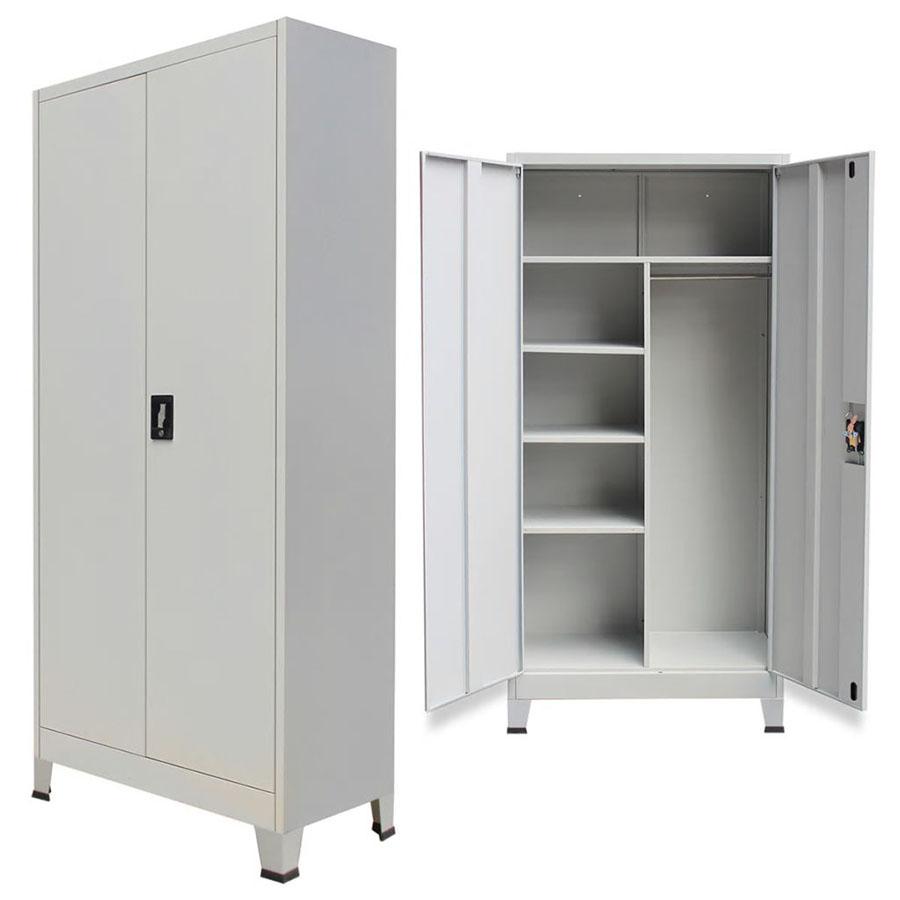 Szafa biurowa dwudrzwiowa, stalowa, 90 x 40 x 180 cm, szara