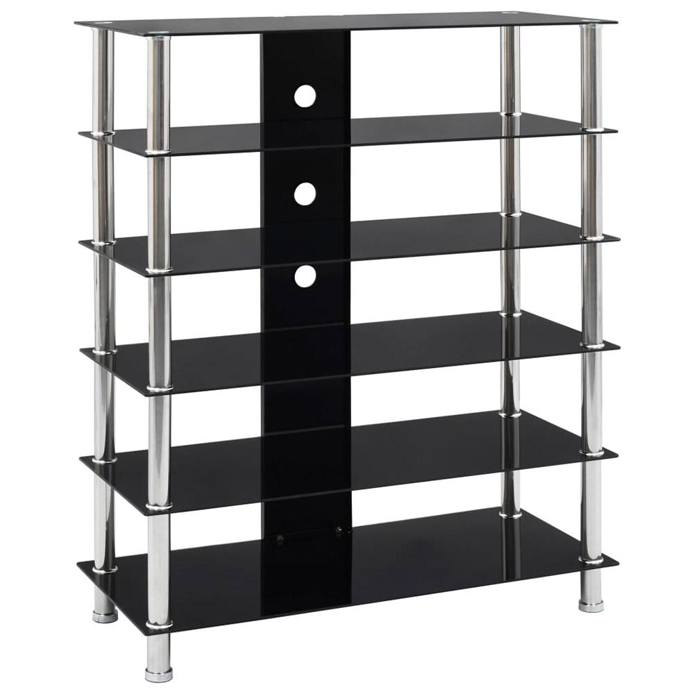 Szafka HiFi, czarna, 90x40x113 cm, hartowane szkło