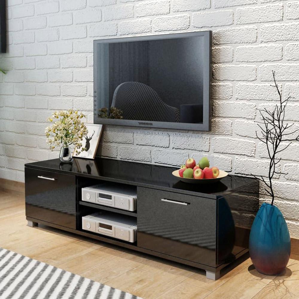 Szafka pod TV na wysoki połysk czarna 120x40,3x34,7 cm