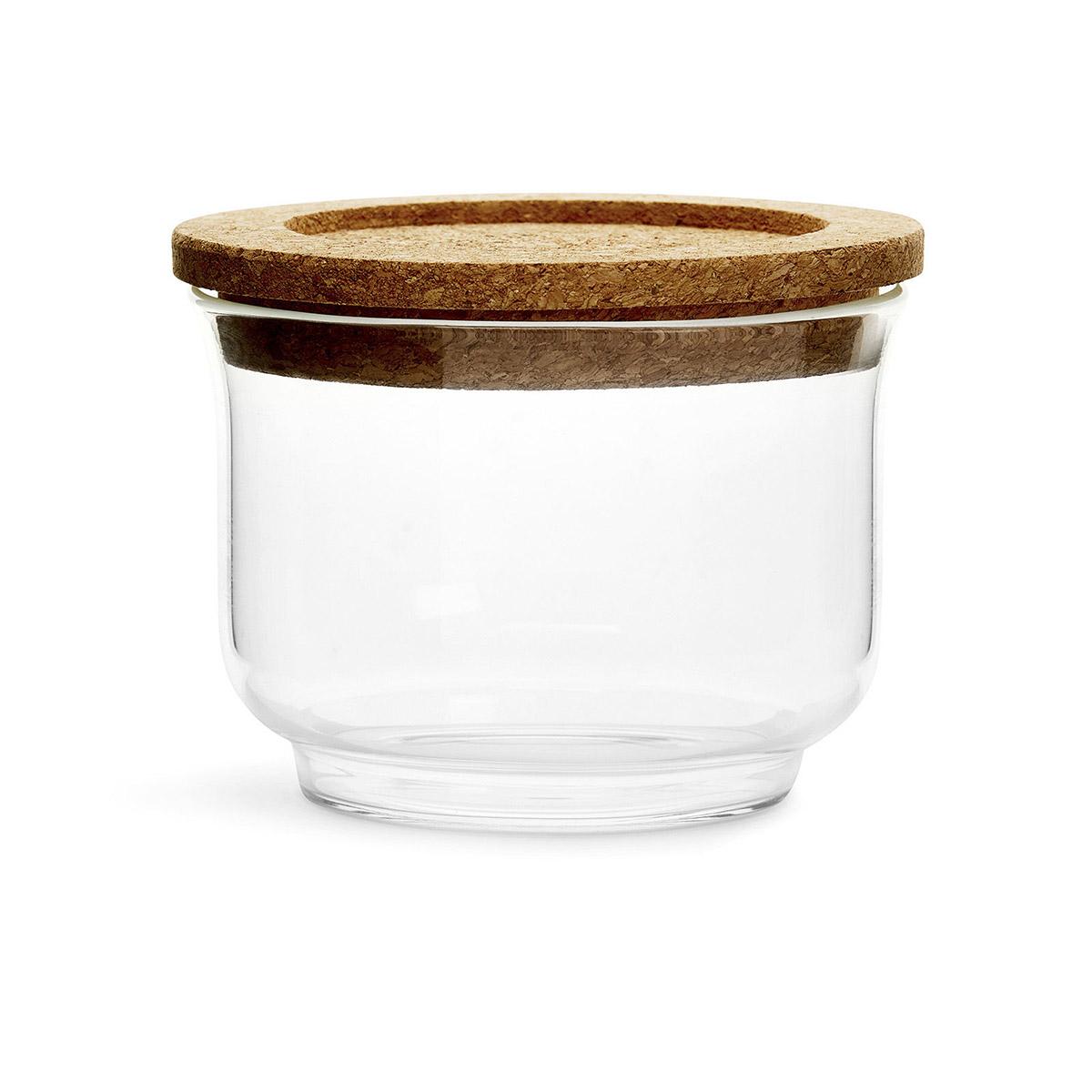 szklany pojemnik z korkową pokrywką, śred. 11,5 x 8,5 cm
