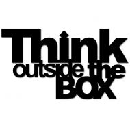 Napis 3D na ścianę DekoSign THINK OUTSIDE THE BOX czarny