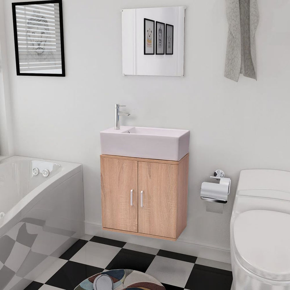 Trzyelementowy zestaw do łazienki z umywalką, beżowy