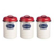 Zestaw 3 pojemników na herbatę kawę i cukier 0,8l Typhoon Belmont kremowo-czerwony