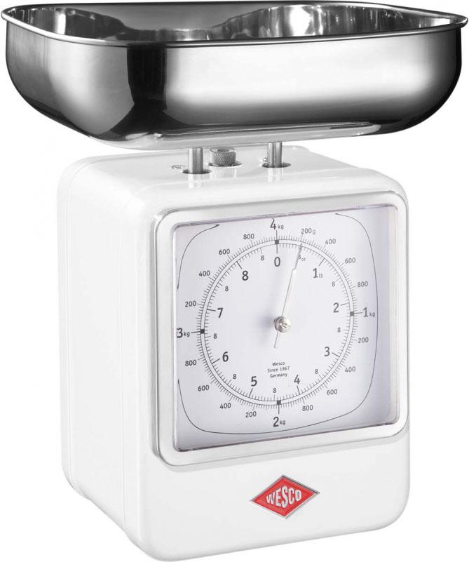 Wesco - Waga kuchenna biała z zegarem Wesco