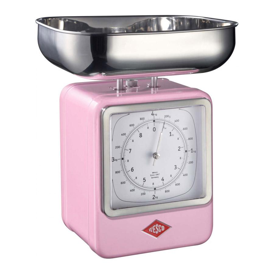 Wesco - Waga kuchenna różowa z zegarem Wesco