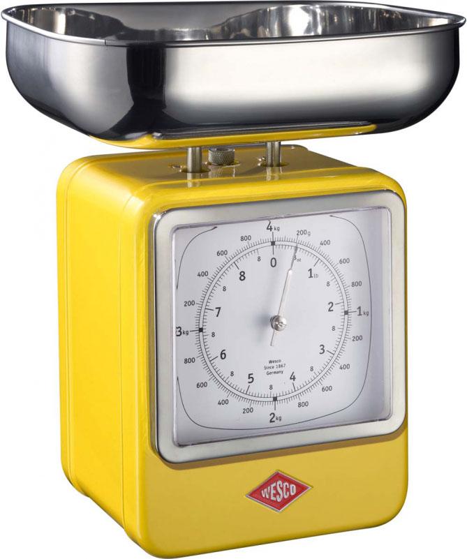 Wesco - Waga kuchenna żółta z zegarem Wesco